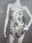 Vtg Victoria Secret Camisole Set Tank And Shorts Small Floral White Womens Size P