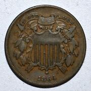 1864 2 Cent Piece ✪ Xf Extra Fine ✪ 2c Small Motto Coin L@@k Now C013 ◢trusted◣