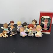 Lot 10 Vintage 1990s Hallmark Mary's Angel Ornaments + Lion With Lamb Ornament