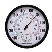 50x10 Inch Indoor Outdoor No Battery Weather Thermometer Hygrometer Wall