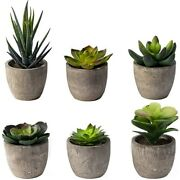 50x6 Pots Small Artificial Succulent Plants Mini Fake Faux Pot For Shelf