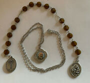 St. Padre Pio Prayer Beads Chaplet W/ St. Pio Medal Necklace Relic Lot