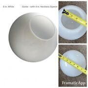 """7"""" 8"""" Industrial Neckless White Glass Globe Shade Chandelier 4"""" Inch Fitter Open"""