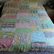 Vintage Handmade Hand Stitched Patchwork Quilt 76 X 62 Cutter Or Repair