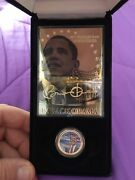 Barack Obama Coin And Card Collection / Coa / Display Box / Gold Plated
