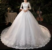 New Plus Size White 3/4 Sleeve Sequins Tulle Lace A Line Wedding Dress Size 20