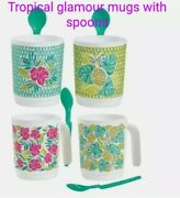 Tupperware Coffee/tea - Cups Mugs Set Of 4 Tropical Glamour Set With Spoons New