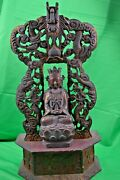 Antique 19th Century Chinese Bronze Buddha On Large Carved Wood Altar C1850