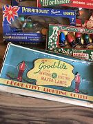 Vintage Lot Christmas Lights Bulbs Boxes Clips Indoor Ge Paramount Worthmore
