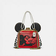 Coach Keith X Haring Disney Mickey Mouse Kiss Lock Red Wht Black Leather Bag New