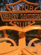 Harley Davidson Motor Cycles Bikes Metal Sign Post Stand One Of Kind Drink Holde