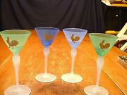 4 Antique Stevens And Williams Jade Art Glass Cordials With Etched Rooster Motif
