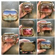 Lot Of 6 Antique World's Fair Trinket Boxes, Snuff Boxes, Pill Boxes + 2 Extras