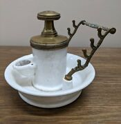 Antique French Pump Inkwell With Pen Rack