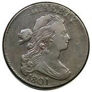 1801 S-224 Draped Bust Large Cent Coin 1c