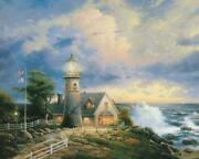 Thomas Kinkade Library Edition A Light In The Storm Painting In Frameandnbsp