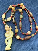 Vintage Exquisite Tibetan Jade, Red Coral, Brass Necklace W Hand Carved Pendant