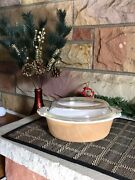 Vintage Fire King Iridescent Peach Luster 1 1/2 Qt Round Casserole With Lid- Goo