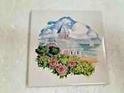 Snow White Ceramic 4 In Tile Mosaic Vintage Beach House Floral 4.25 Inch Subway