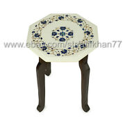 White Marble Side Table Inlay With Semiprecious Stone New Home Gift End Table