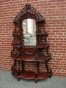 Antique Walnut Victorian Etagere With Ansonia Head