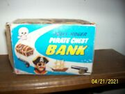 Vintage 70and039s Jolly Roger Pirate Chest Bank In Original Box