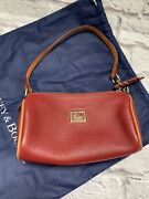 Dooney And Bourke Leather Mini Barrel Purse Red And Tan Excellent W/dust Bag