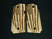 Maple American Flag Kimber Micro 9 Grips Checkered Engraved Textured