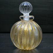 Vintage Murano Glass Perfume Bottle And Stopper Gold Flakes Signed Hand Made