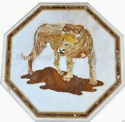 24 Inches Marble Patio Table Top Inlay Tiger Pattern Coffee Table Home Furniture