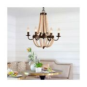 6-candle Light Farmhouse Wood Bead Chandelier Cottage Wooden French Country ...