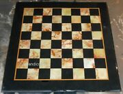 30 Inches Square Marble Table Top Black Coffee Table With Check Pattern For Hall