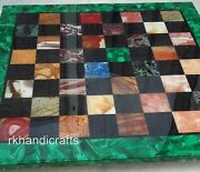 Multi Stone Check Pattern Island Table Top Black Marble Dining Table 30 Inches