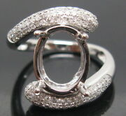 Oval Cut 6x8mm Solid 18k White Gold Natural Diamonds Semi Mount Ring Setting