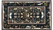 30 X 48 Inches Marble Coffee Table Top Handmade Animals Pattern Dining Table