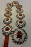 Thick And Heavy 16+ozt. Navajo Concho Belt Buckle Sterling Silver W/new Leather