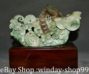 9 Old Natural Dushan Red Jade Fengshui Ruyi Toad Money Coin Bat Statue