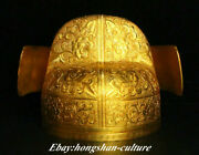 7.8 China Copper Filigree Gold Gilt Dynasty Emperor Official And039s Headgea