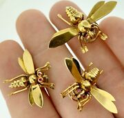 Fabulous Retro 18kt Rose Gold + Rubies 3 Bee Scatter Pin Brooches 1940and039sestate