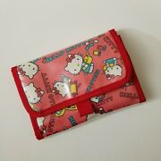 Hello Kitty Pink Makeup 2 Section Trifold Cosmetic Bag Organizer Case Vivitix
