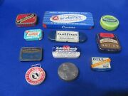 Vintage Old Advertising 11 Variety Small Tins Of Different Types And Sizes
