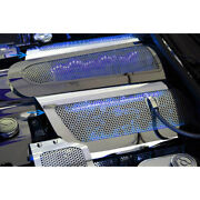 Perforated Stainless Replacement Fuel Rail Covers W/blue Led For 05-07 Corvette