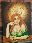 Bitcoin Cryptocurrency Original Art Fortune Teller Tarot Card Redhead Freckles