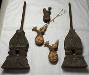Collection Of Antique/vintage Burmese/asian Loom Pulleys And Parts Early 20th C