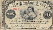 U.s. Obsolete 10 Cent Script Note Mayor And Common Council Jersey City Nj 1862