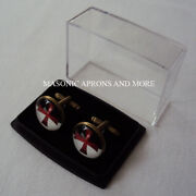 Knights Templar Cross With Vb Banner Cuff Linksma4612-aunboxed
