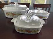 Corning Ware Spice Of Life L'echalote Lot A-84-b, A-8-b, A-1-b And Lids 3 Sets