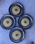 1970and039s Cadillac Fleetwood Set Of 4 Hub Caps Painted Yellow Centers With Emblem