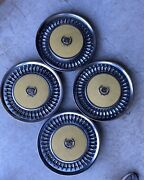 1970's Cadillac Fleetwood Set Of 4 Hub Caps Painted Yellow Centers With Emblem