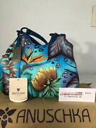 Anuschka 1of A Kind Handpainted Medium Swagger Hobo 469 Triple Compartments